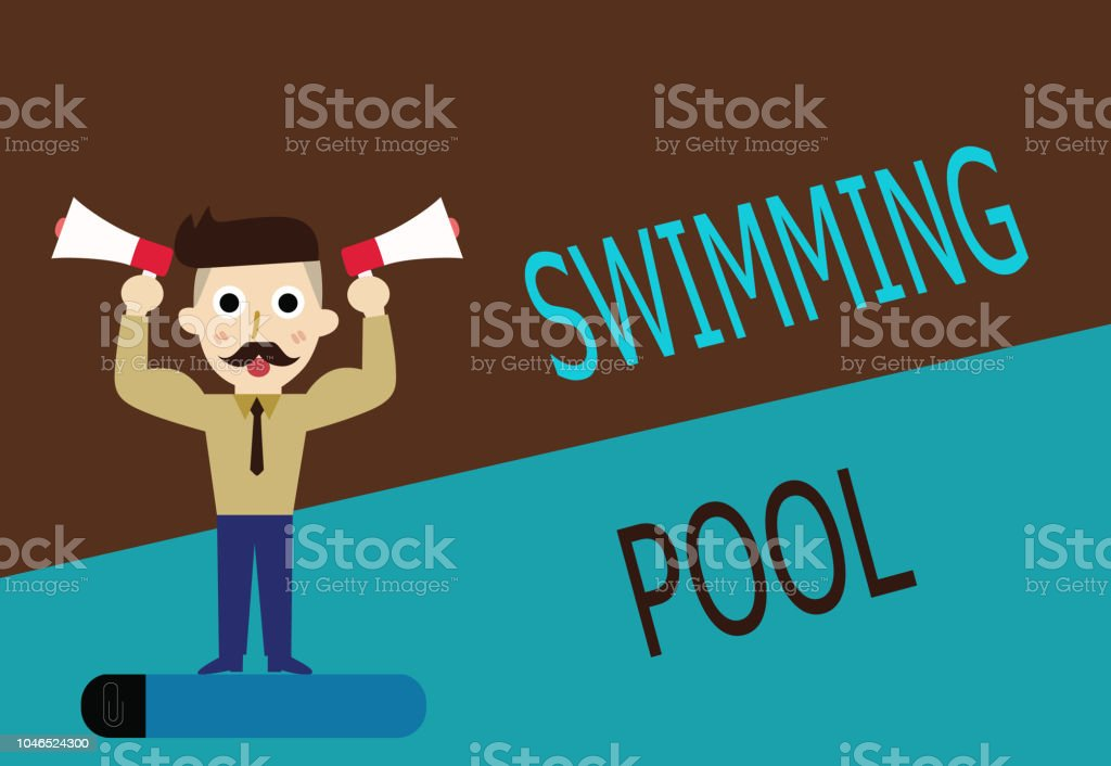 Conceptual Hand Writing Showing Swimming Pool Business Photo Text Structure  Designed To Hold Water For Leisure Activities Stock Illustration - ...