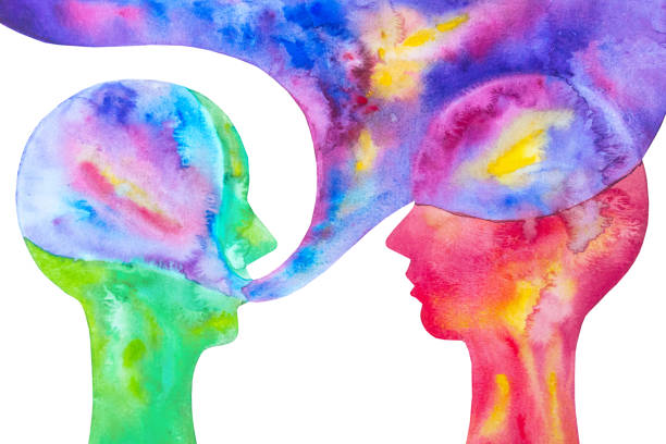 Conceptual painting two people speak. White background. Watercolor illustration communication. Dialogue between two friends. persuasion stock illustrations