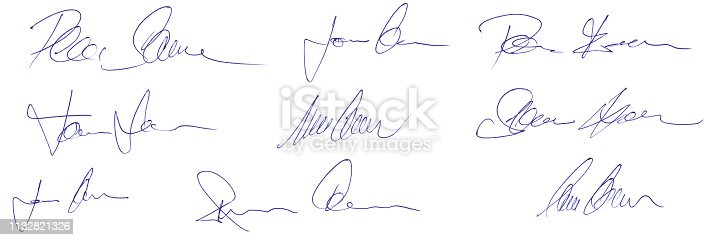Conceptual random artificial artwork ballpoint pen signature as handwriting design elements not referencing to real person
