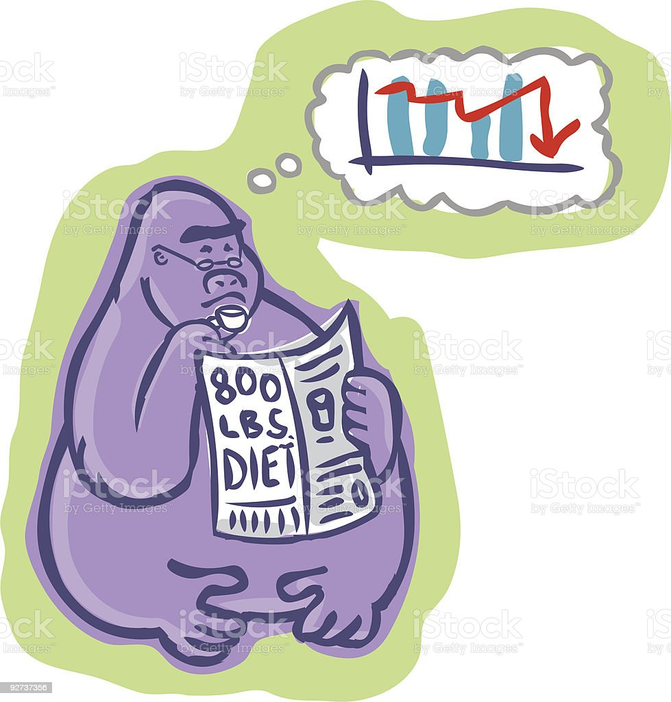 Concerned 800 pound gorilla reading and thinking - Royalty-free Ape stock vector