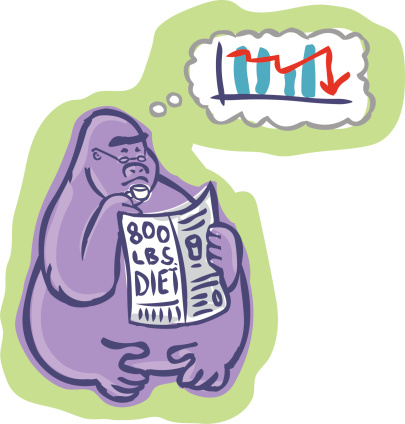 Concerned 800 Pound Gorilla Reading And Thinking Stock Illustration - Download Image Now