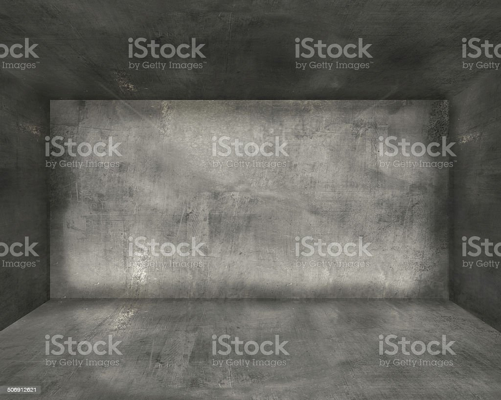 concrete room interior vector art illustration