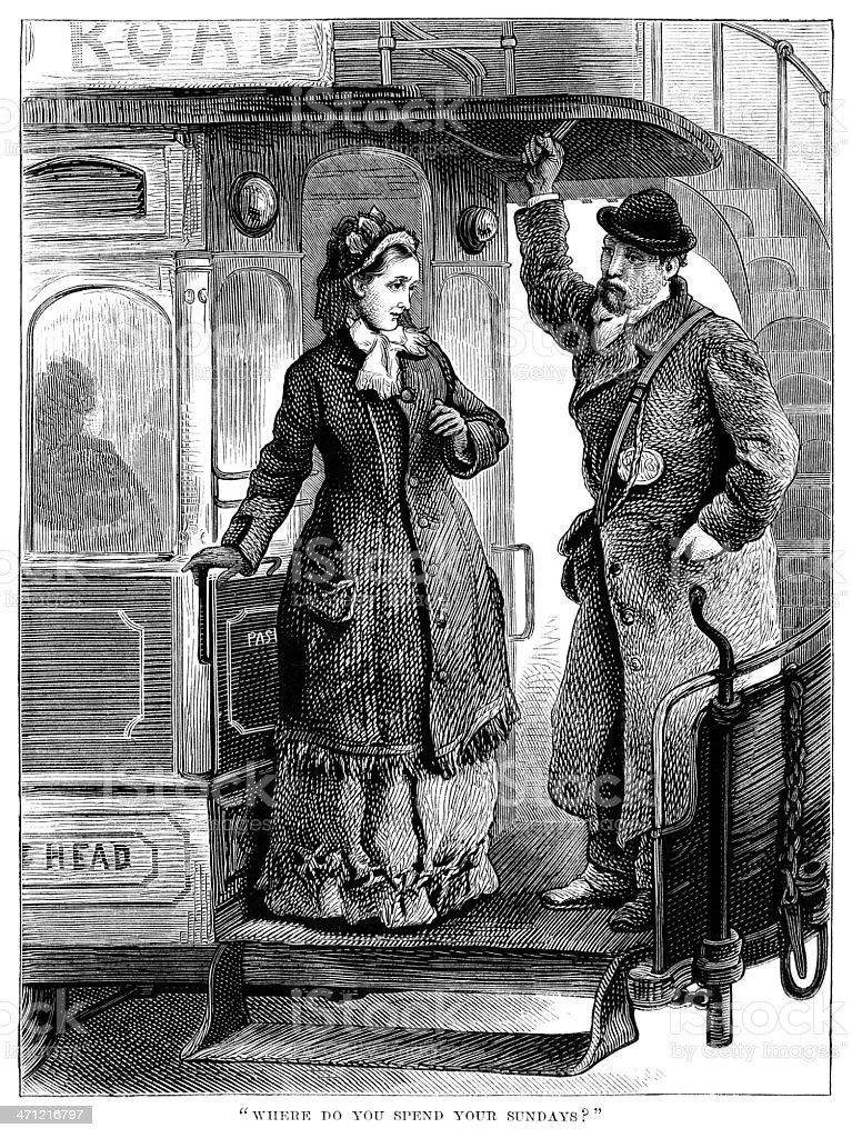 Conductor and female passenger on horse bus - Victorian illustration royalty-free conductor and female passenger on horse bus victorian illustration stock vector art & more images of 1880