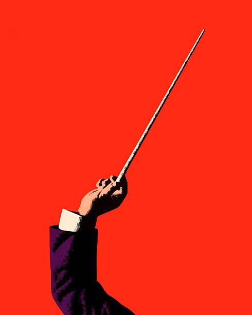bildbanksillustrationer, clip art samt tecknat material och ikoner med conductor holding baton - orkester