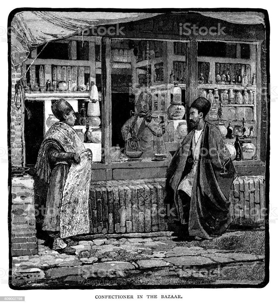 Confeiteiro no bazar - ilustração de arte em vetor