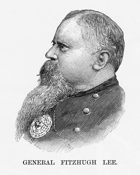 Confederate General Fitzhugh Lee Civil War Engraving, Circa 1865 vector art illustration
