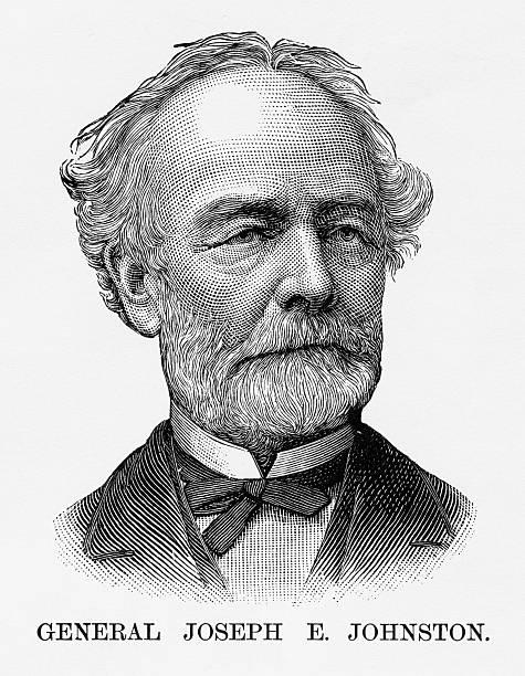 confederate general joseph e. johnston civil war engraving, circa 1865 - old man portrait drawing stock illustrations, clip art, cartoons, & icons