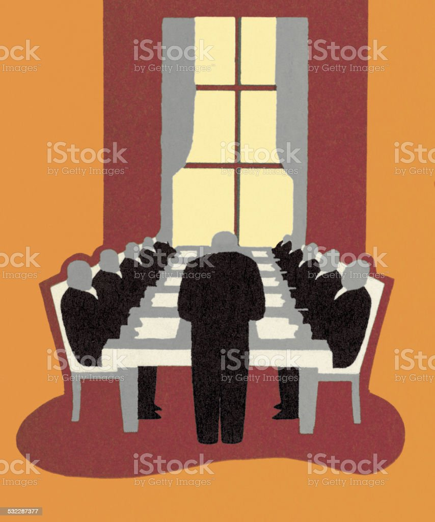 Conference Room Business Meeting vector art illustration