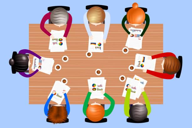 illustrazioni stock, clip art, cartoni animati e icone di tendenza di conference table, teamwork concept - business meeting, table view from above
