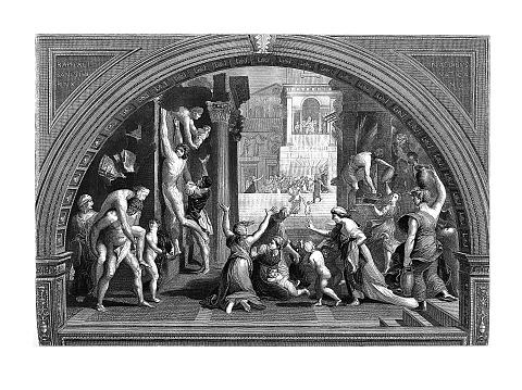 Conflagration Rome, (antique engraving after Raphael's fresco)