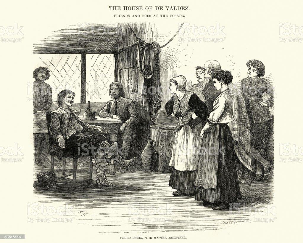 Confrontation between men and woman at a spanish Posada vector art illustration