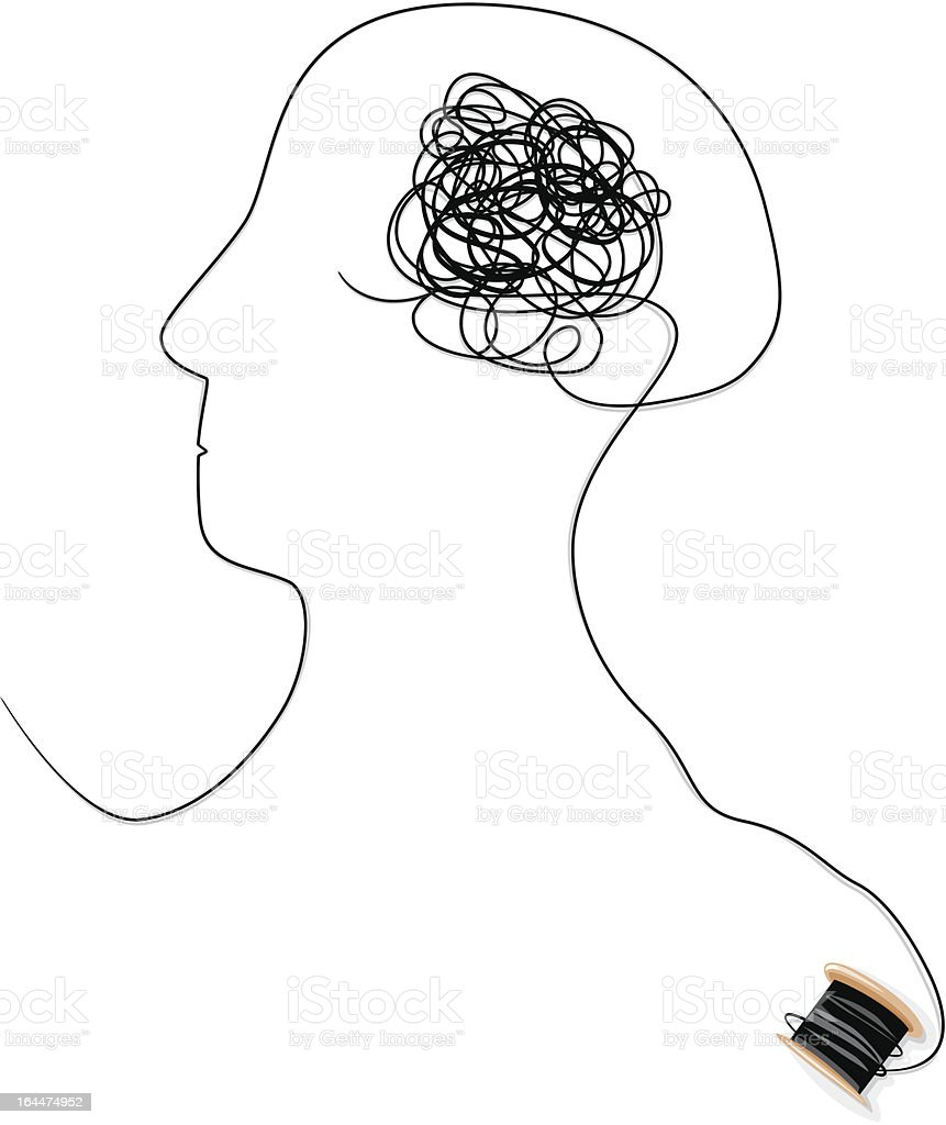 Confused or brain tangle vector art illustration