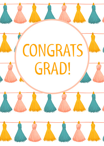 Congratulations Graduate tassel garland card template. Congrats grad postcard greeting card vertical with cute hand drawn tassels. ceremony, invitation card, University, School, Academy