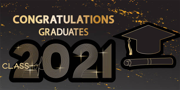 Congratulations graduates vector banner on grunge dark texture. Golden lettering class of 2021 with shine. Hat and diploma. teacher appreciation week stock illustrations
