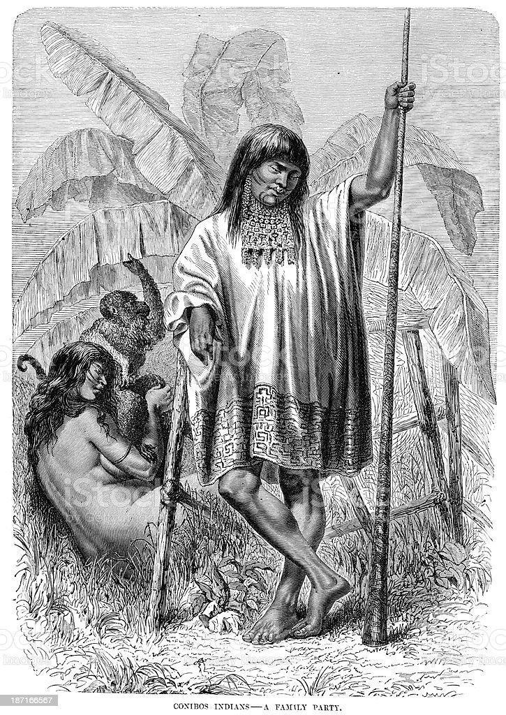 Conibo Indians vector art illustration