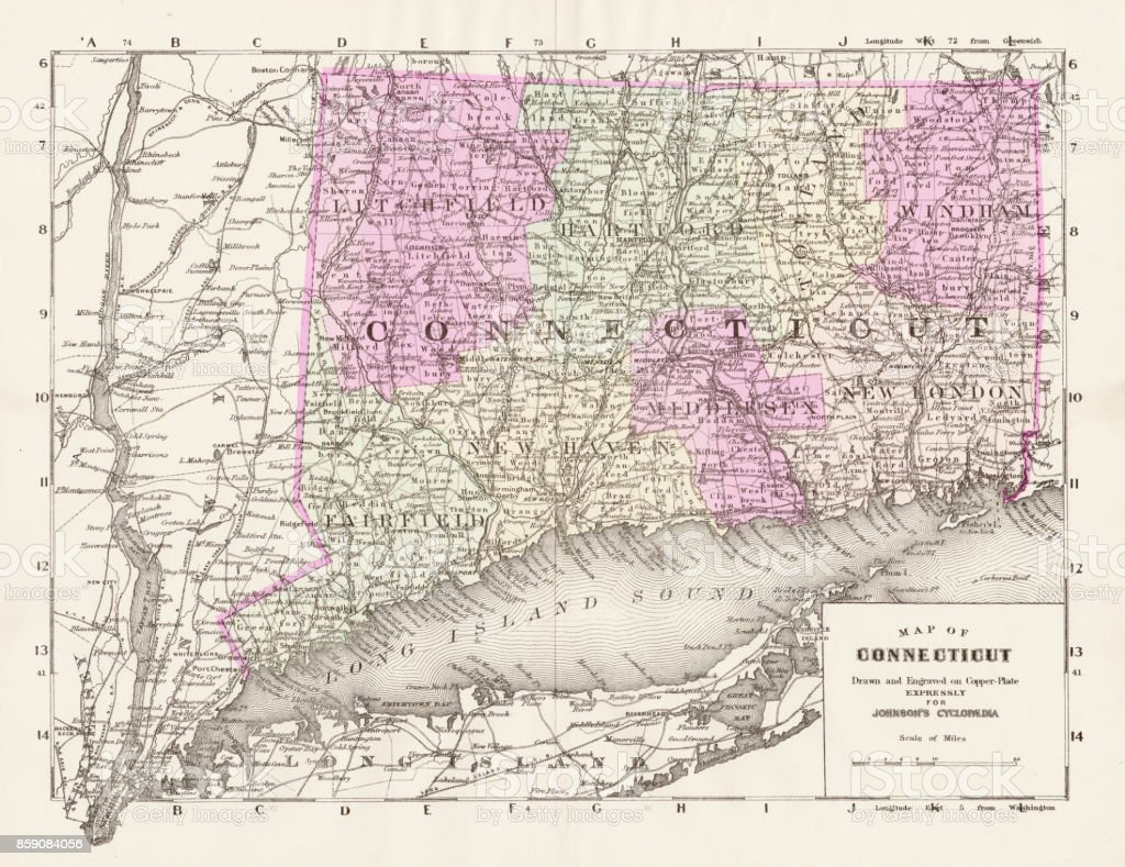 Connecticut Map 1893 Stock Vector Art & More Images of Antique ...
