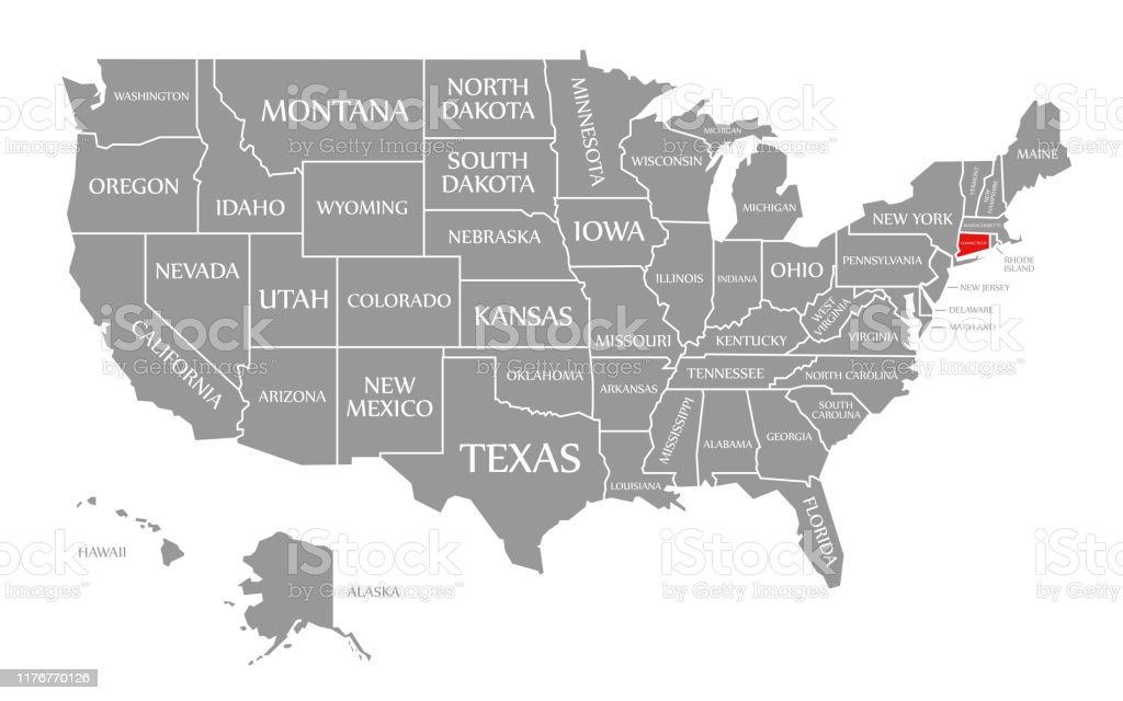 Ilustración de Connecticut Rojo Resaltado En El Mapa De Los ...
