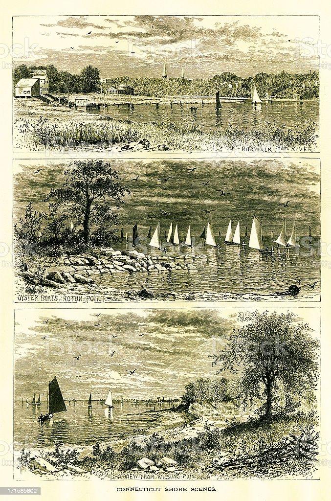 Connecticut Shore scenes, USA royalty-free stock vector art