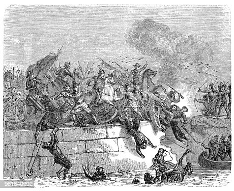 Conquistador Hernán Cortés leaving the city of Tenochtitlan after Montezuma II death Original edition from my own archives Source : Illustrierte Geschichte 1882