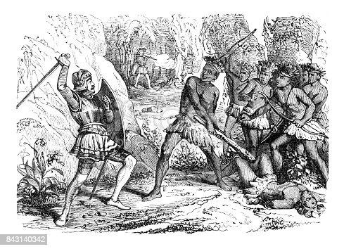 Steel engraving of Pizarro in battle between Aztec and spanish troups 1863