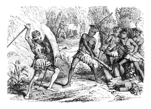 Conquistador Pizarro in battle between Aztec and spanish troups 1863 vector art illustration