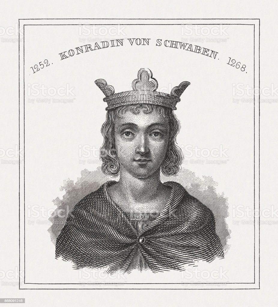 Conrad (1252 - 1268), European ruler, steel engraving, published in 1843 vector art illustration