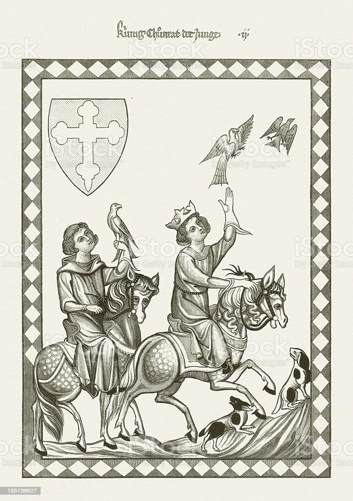 Conradin (1252-1268, from Codex Manesse), wood engraving, published in 1880 vector art illustration