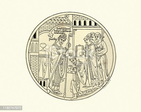 Vintage engraving of the consecration of Saint Guthlac by Hedda of Winchester, 12th Century