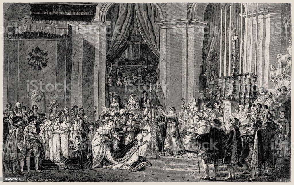 Ilustracion De Consagracion Del Emperador Napoleon I Y Coronacion De
