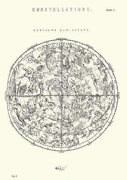 ilustrações de stock, clip art, desenhos animados e ícones de constelações do hemisfério norte - mapa das estrelas