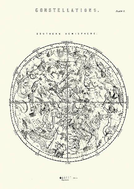 ilustrações de stock, clip art, desenhos animados e ícones de constelações do hemisfério sul - mapa das estrelas