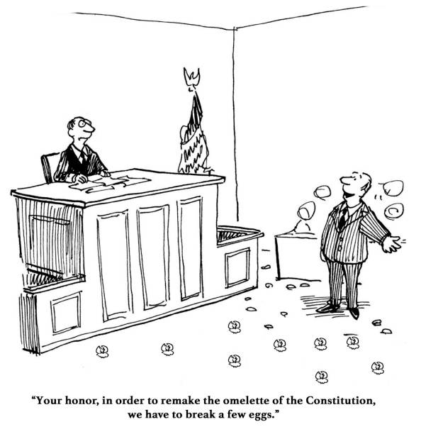 Constitution Legal cartoon about needing to break a few eggs to create a new Constitution. supreme court stock illustrations