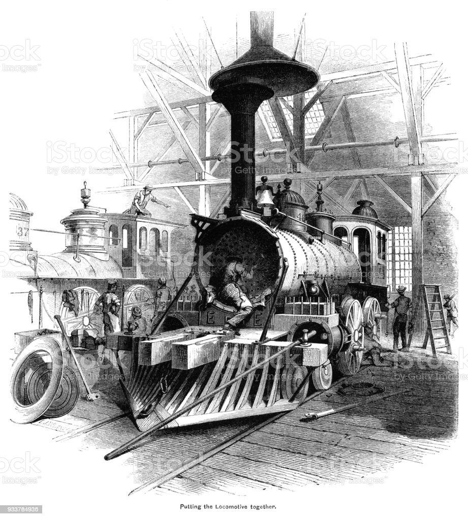 Ilustración de Construcción De Una Locomotora A Vapor Americana ...