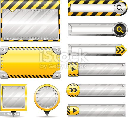 A set of different construction and metal style buttons and banners. All colors are global swatches, so they can be changed easily. Transparent PNG file included. Perfect for your website, application, or presentation.