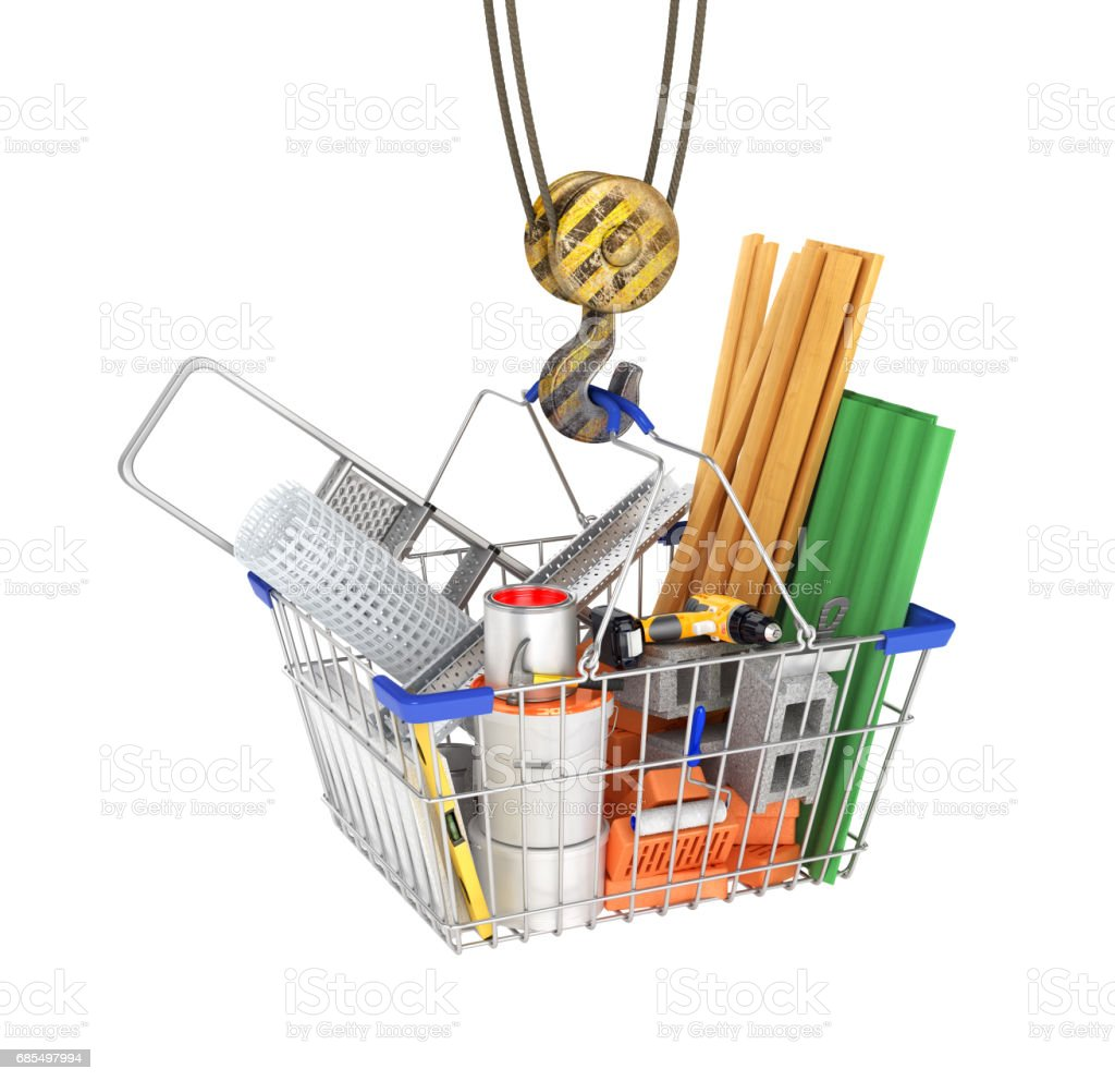 Construction crane holding a cable basket for purchases with building materials. 3d illustration vector art illustration
