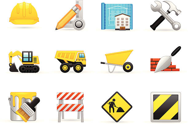 bau icon-set - helm stock-grafiken, -clipart, -cartoons und -symbole