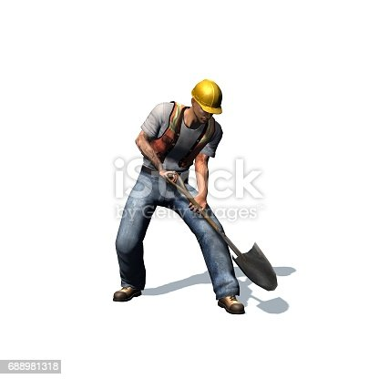construction laborer with shovel stock vector art 688981318 istock - Construction Laborer