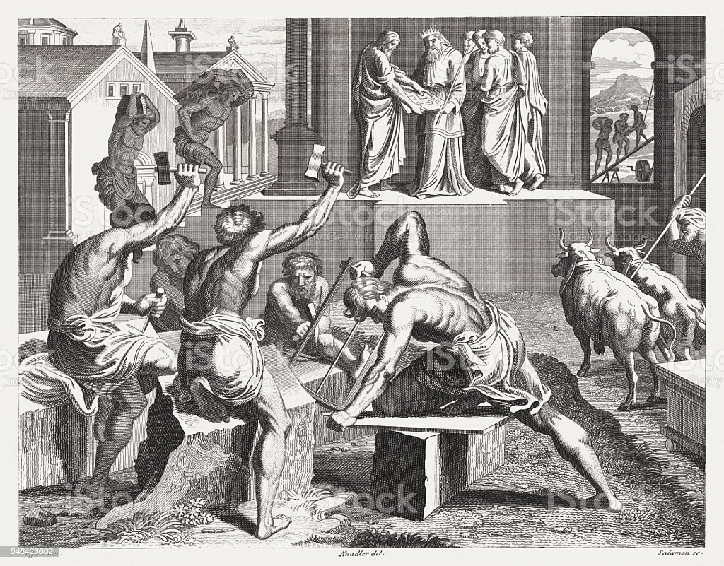 Construction of Solomon's Temple (1 Kings 6), published in 1841 vector art illustration