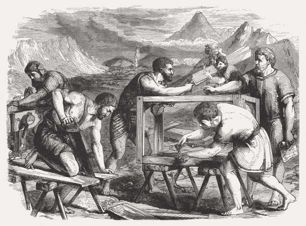 Construction of the Ark (Exodus 25), wood engraving, published 1886 vector art illustration