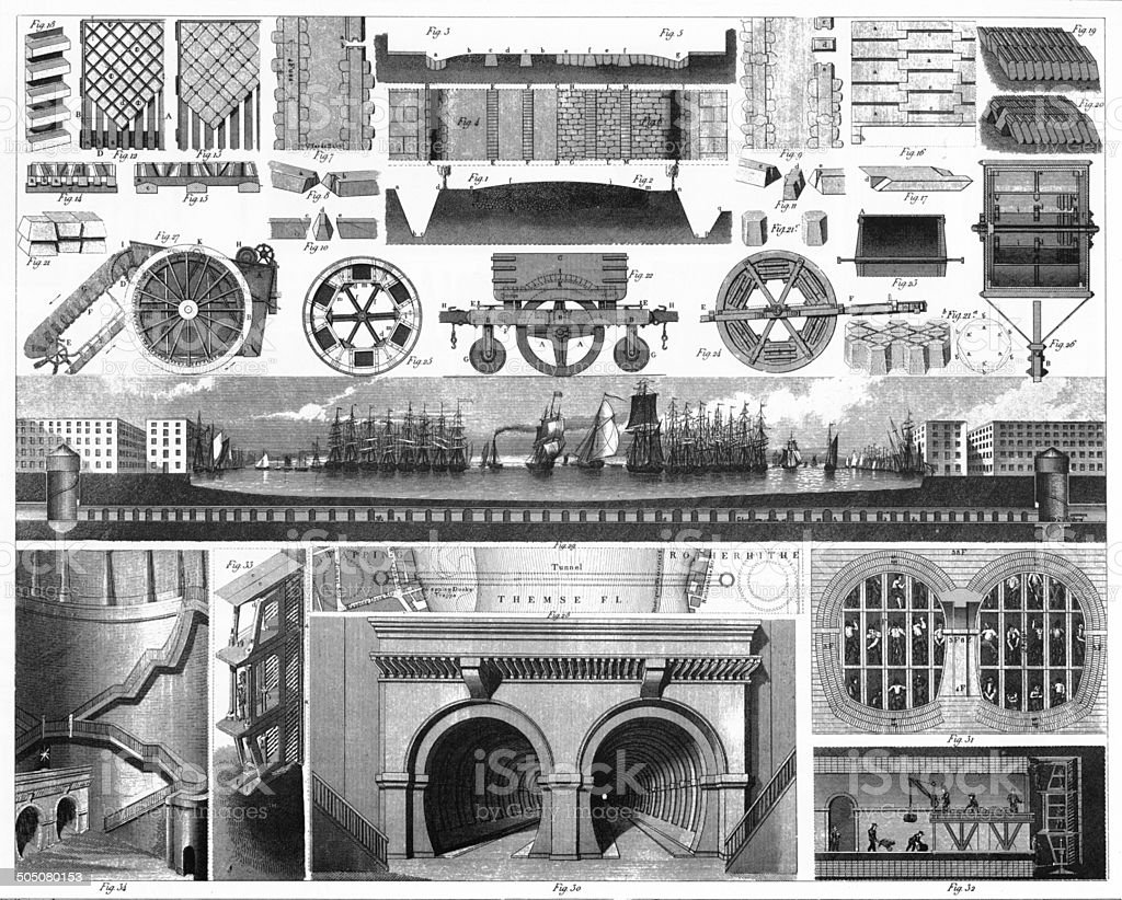 Construction of the Thames Tunnel Engraving vector art illustration