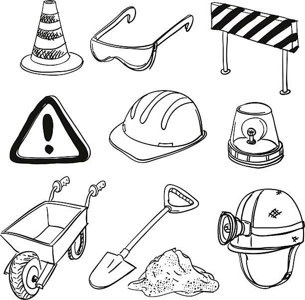 stockillustraties, clipart, cartoons en iconen met construction sketch in black and white - shovel
