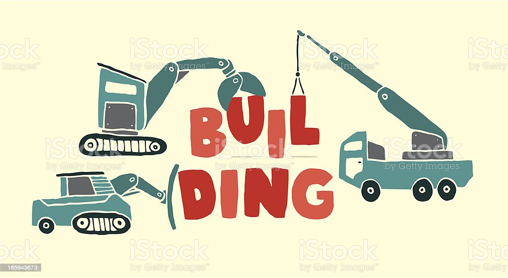 Construction vehicles building word royalty-free stock vector art
