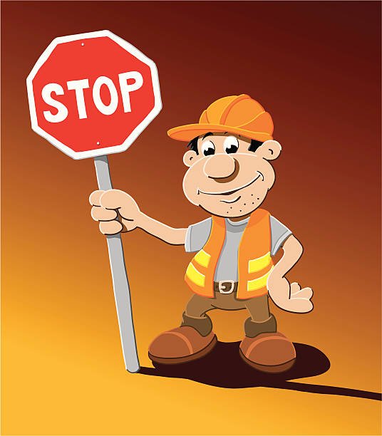 "Construction Worker Stop Sign Cartoon Man ""Vector Illustration of a construction worker, who is holding a stop sign. The background is on a separate layer, so you can use the illustration on your own background. The colors in the .eps-file are ready for print (CMYK). Included files: EPS (v8) and Hi-Res JPG."" cartoon people sign stock illustrations"