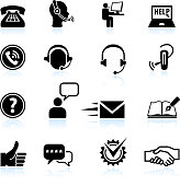 Contact us and Customer service black & white icon set