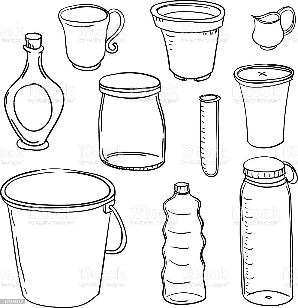 Containers collection in black and white vector art illustration