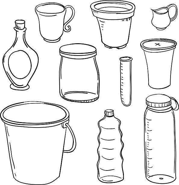 stockillustraties, clipart, cartoons en iconen met containers collection in black and white - emmer