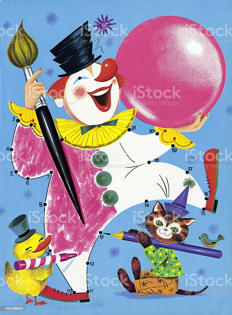 Contect the Dots Clown royalty-free stock vector art