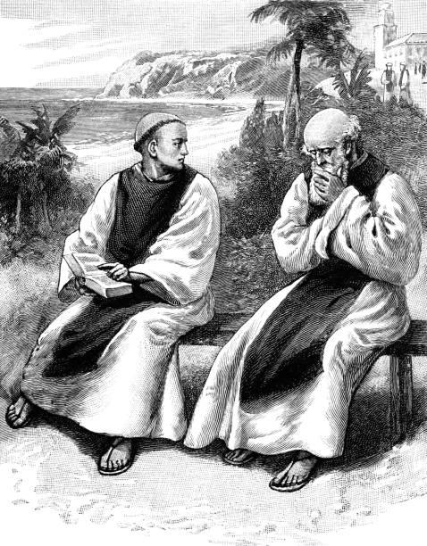ilustraciones, imágenes clip art, dibujos animados e iconos de stock de monje y prior contemplativo - hermano