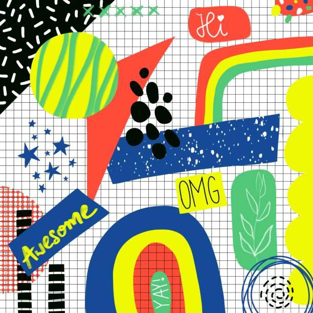 ilustraciones, imágenes clip art, dibujos animados e iconos de stock de diseño abstracto contemporáneo back to school sketchy notebook doodles con letras dibujadas a mano omg, awesome, hi, yay y elementos abstractos sobre el fondo de papel de cuaderno de bocetos a cuadros - escuela media