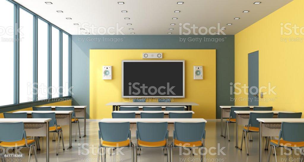 Contemporary empty classroom vector art illustration